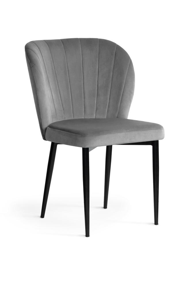 Scaun tapitat cu stofa, cu picioare metalice Shelly Grey / Black, l58xA63xH86 cm