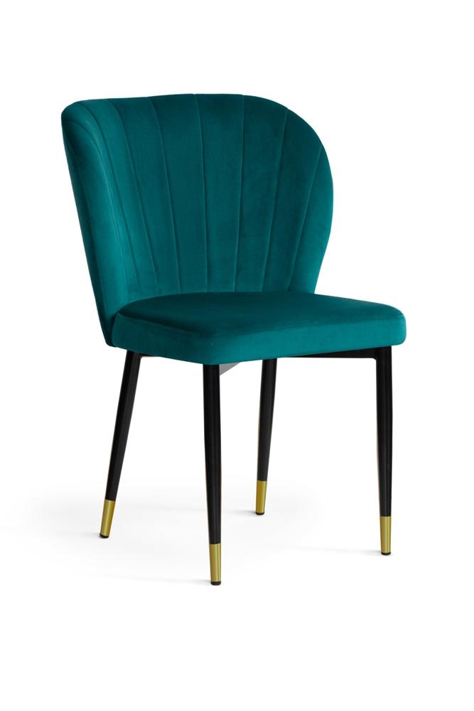 Scaun tapitat cu stofa, cu picioare metalice Shelly Turquoise / Black / Gold, l58xA63xH86 cm