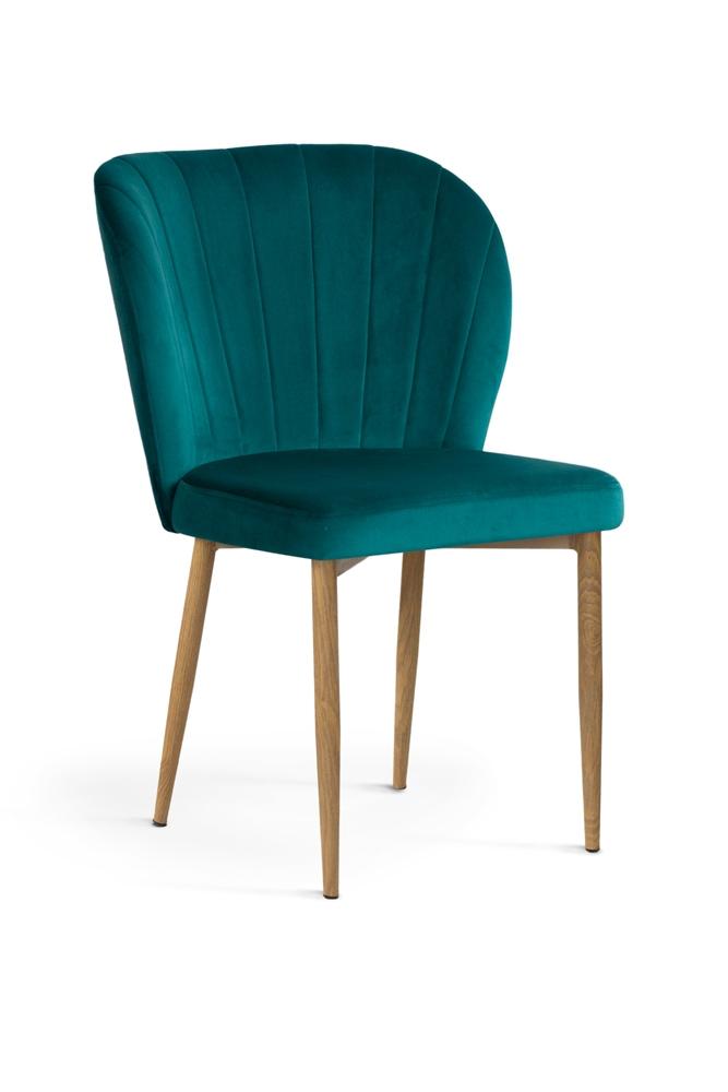 Scaun tapitat cu stofa, cu picioare metalice Shelly Turquoise / Oak, l58xA63xH86 cm