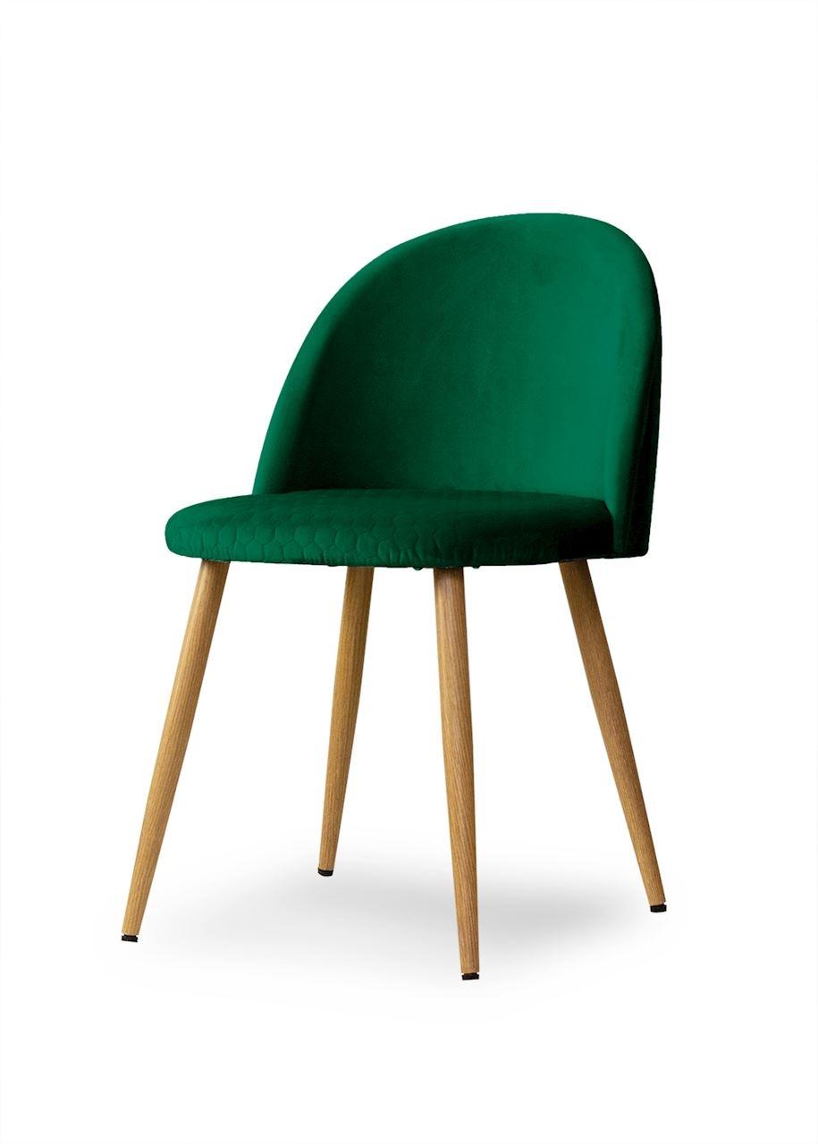 Scaun tapitat cu stofa, cu picioare metalice Song Comb Green / Oak, l50xA52xH78 cm