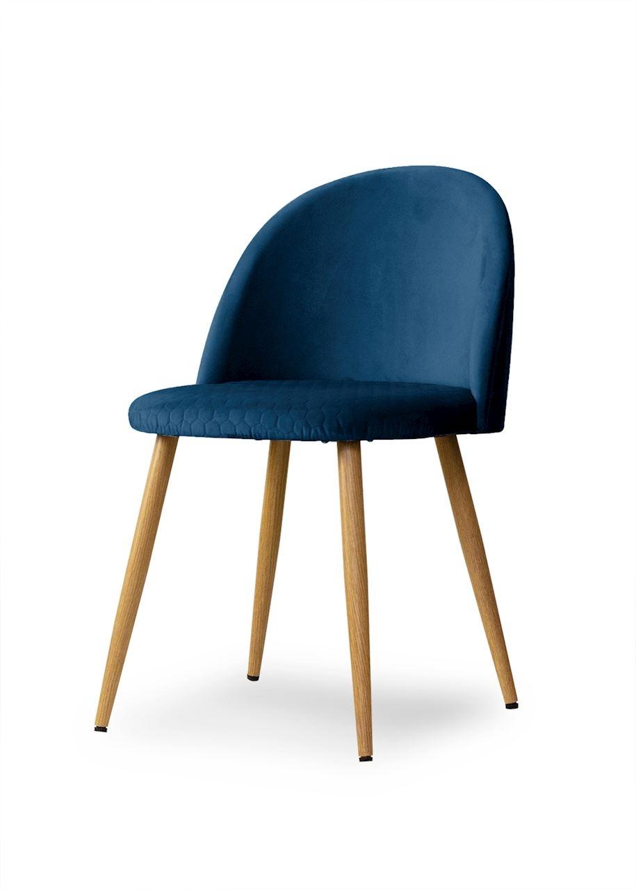 Scaun tapitat cu stofa, cu picioare metalice Song Comb Navy Blue / Oak, l50xA52xH78 cm