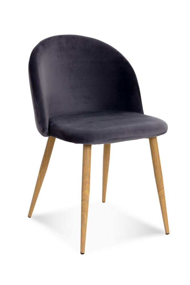 Scaun tapitat cu stofa, cu picioare metalice Song Dark Grey / Oak, l50xA52xH78 cm
