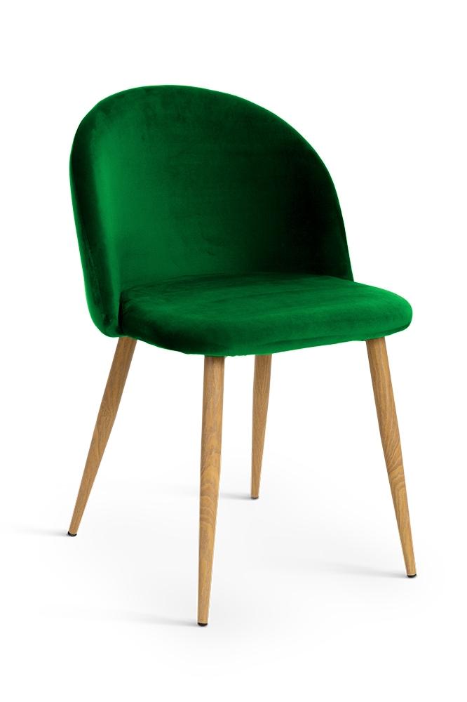 Scaun tapitat cu stofa cu picioare metalice Song Green / Oak l50xA52xH78 cm
