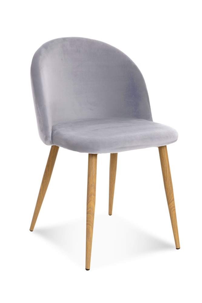 Scaun tapitat cu stofa, cu picioare metalice Song Light Grey / Oak, l50xA52xH78 cm