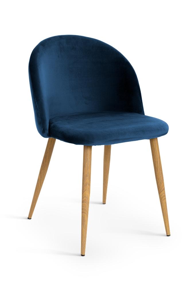 Scaun tapitat cu stofa, cu picioare metalice Song Navy Blue / Oak, l50xA52xH78 cm