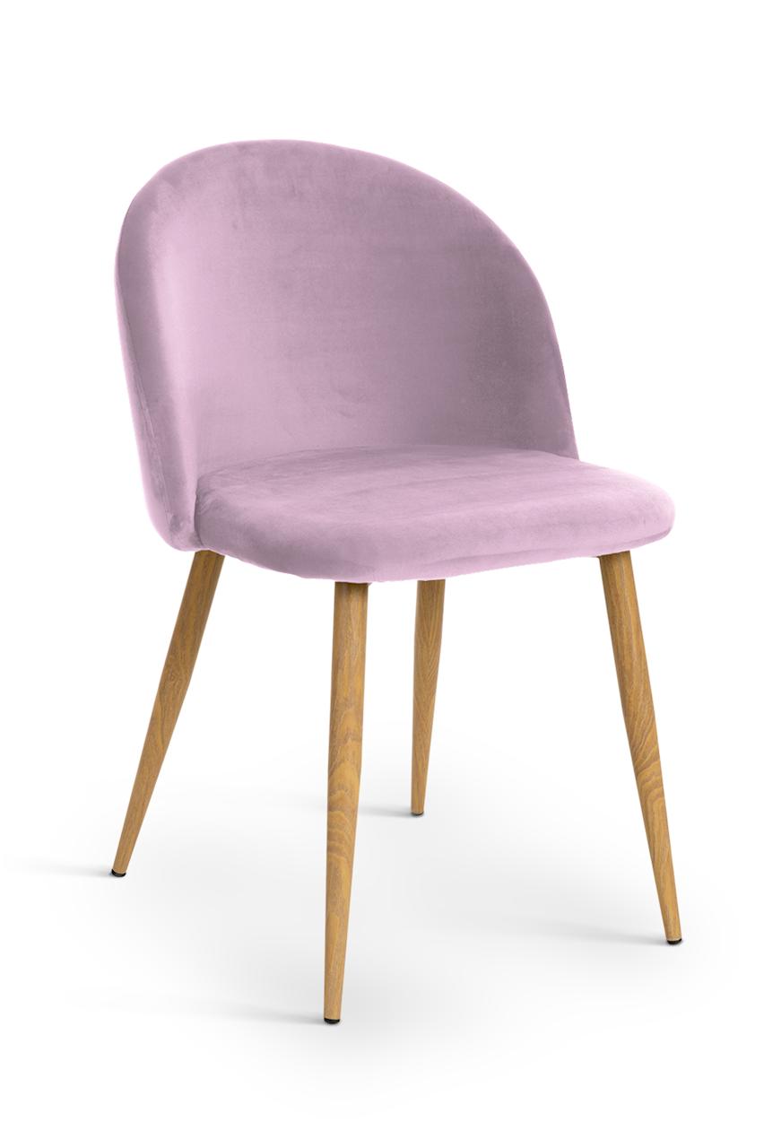Scaun tapitat cu stofa, cu picioare metalice Song Pink / Oak, l50xA52xH78 cm