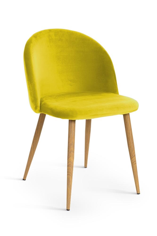 Scaun tapitat cu stofa, cu picioare metalice Song Yellow / Oak, l50xA52xH78 cm
