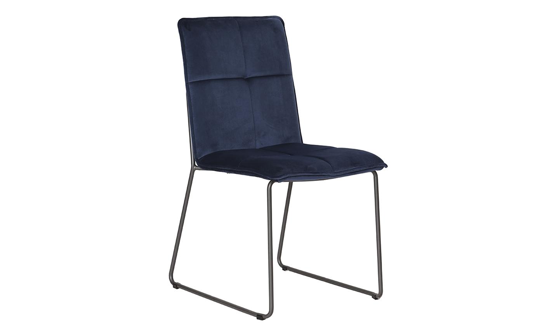 Set 4 scaune tapitate cu stofa cu picioare metalice Soren Blue l585xA56xH91 cm