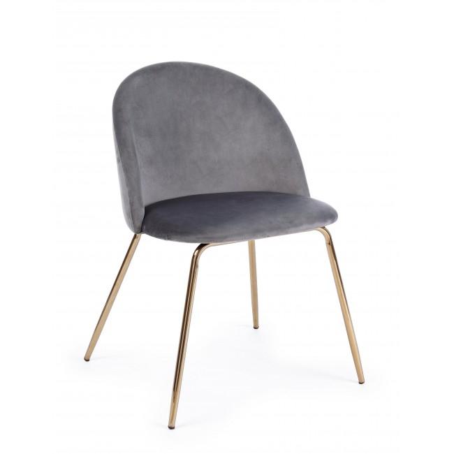 Scaun tapitat cu stofa, cu picioare metalice Tanya Gri inchis / Auriu, l49xA55xH77 cm