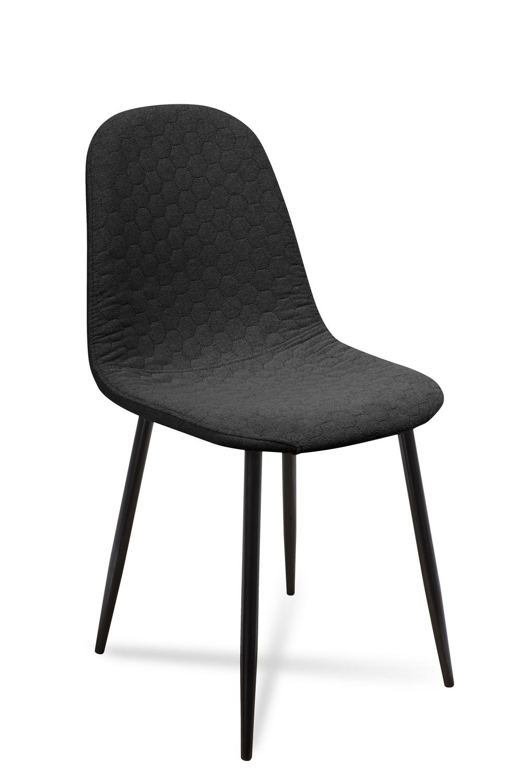 Scaun tapitat cu stofa, cu picioare metalice Timor Black, l44xA52xH87 cm
