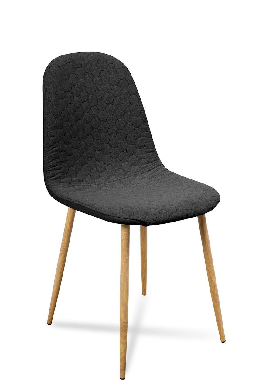 Scaun tapitat cu stofa, cu picioare metalice Timor Black / Oak, l44xA52xH87 cm