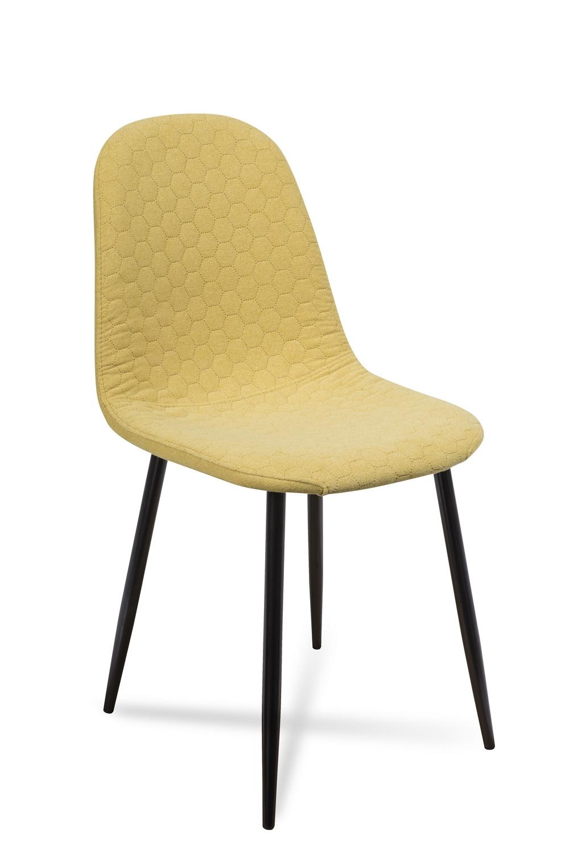 Scaun tapitat cu stofa, cu picioare metalice Timor Yellow / Black, l44xA52xH87 cm