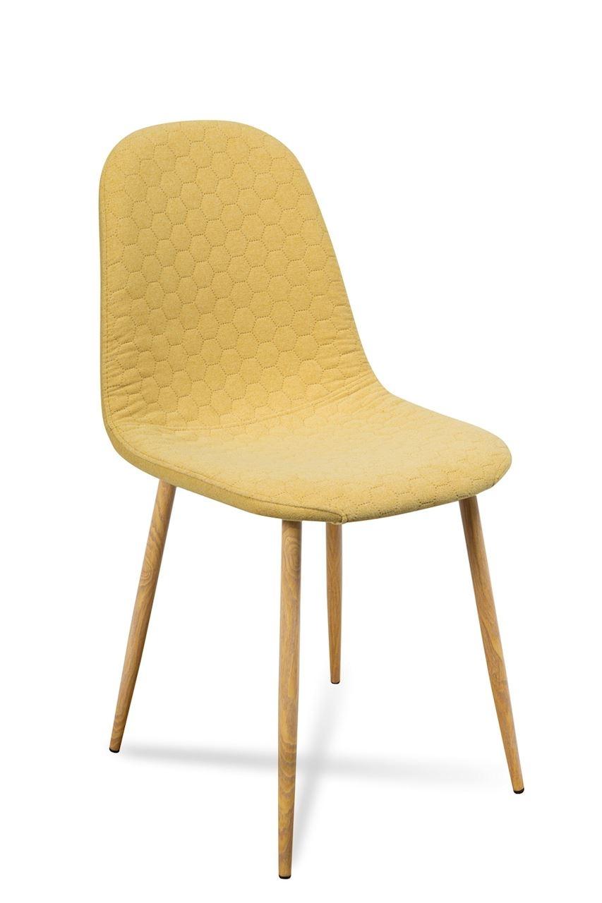 Scaun tapitat cu stofa, cu picioare metalice Timor Yellow / Oak, l44xA52xH87 cm