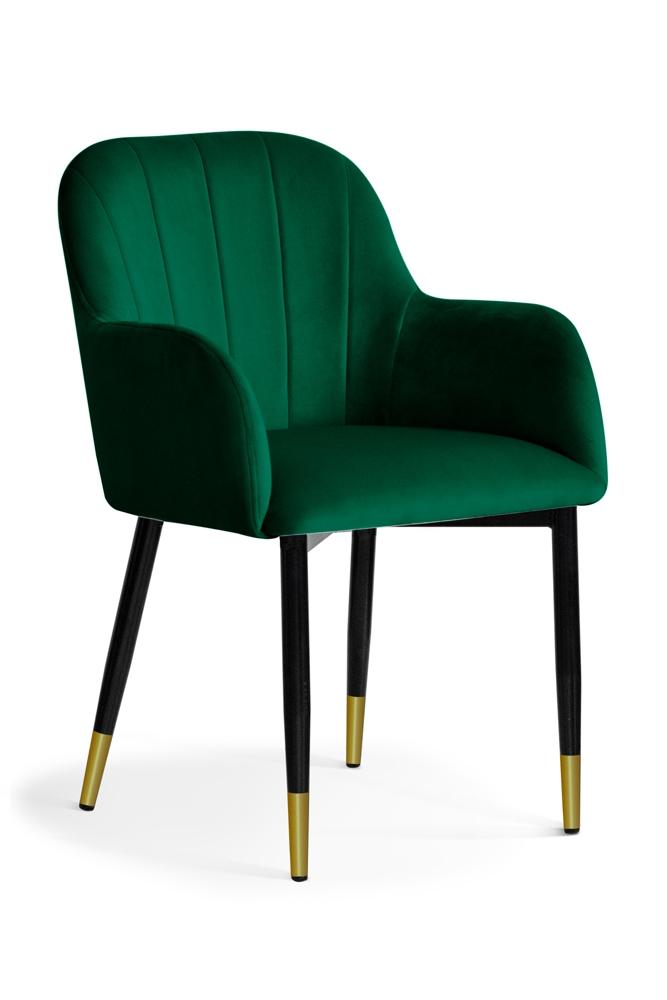 Scaun tapitat cu stofa, cu picioare metalice Tulip Green / Black / Gold, l55xA57xH84 cm