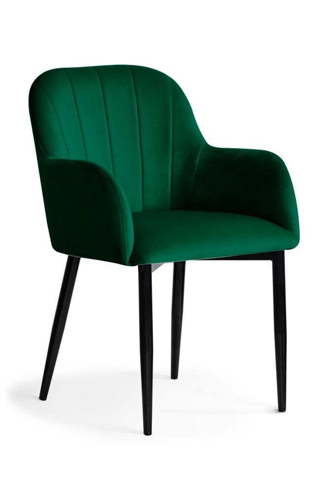 Scaun tapitat cu stofa, cu picioare metalice Tulip Green / Black, l55xA57xH84 cm