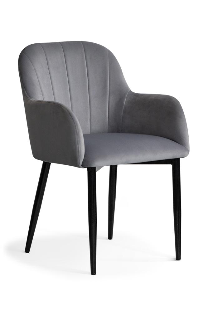 Scaun tapitat cu stofa, cu picioare metalice Tulip Grey / Black, l55xA57xH84 cm