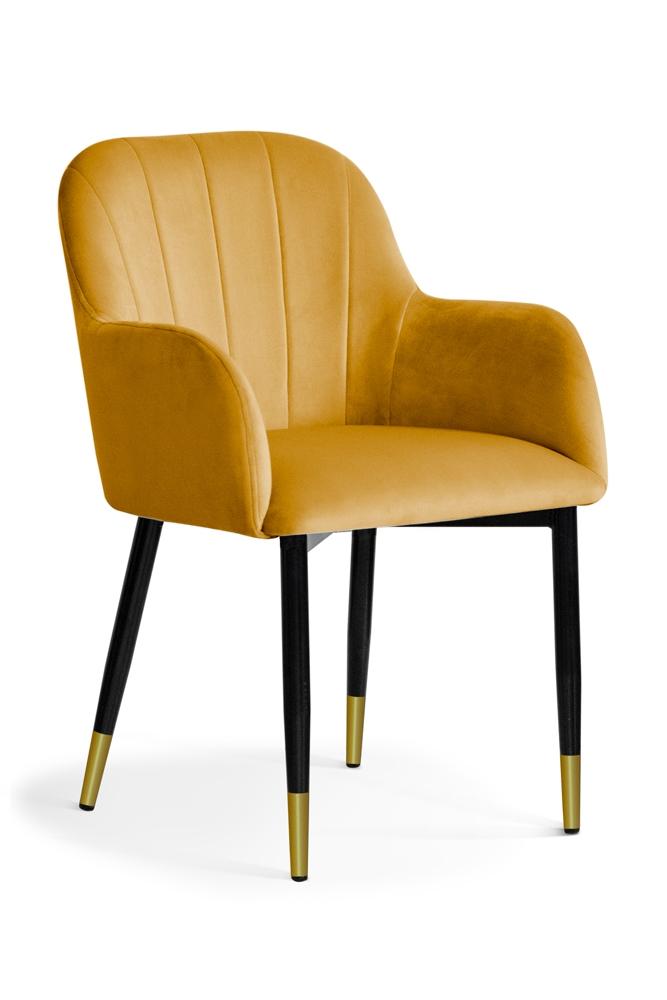 Scaun tapitat cu stofa, cu picioare metalice Tulip Honey / Black / Gold, l55xA57xH84 cm