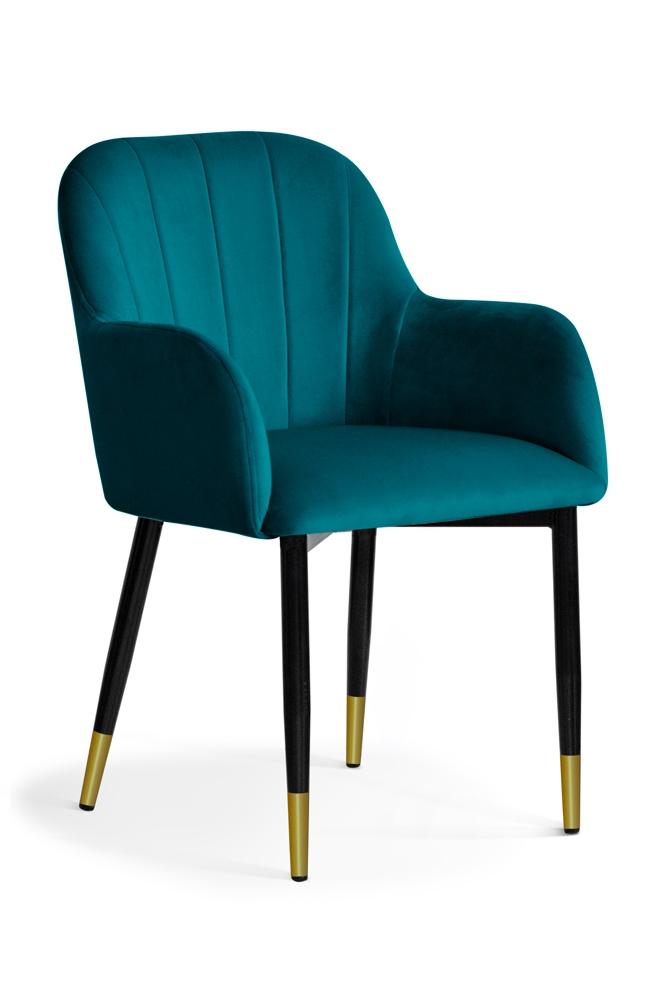 Scaun tapitat cu stofa, cu picioare metalice Tulip Turquoise / Black / Gold, l55xA57xH84 cm
