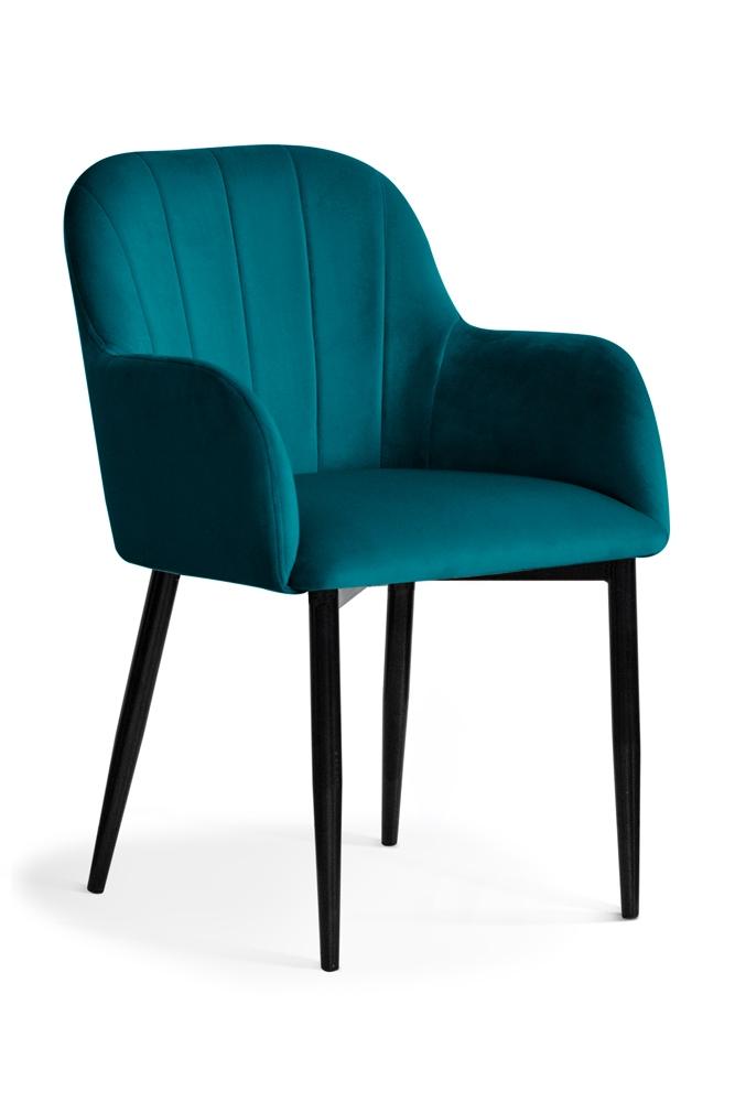 Scaun tapitat cu stofa, cu picioare metalice Tulip Turquoise / Black, l55xA57xH84 cm