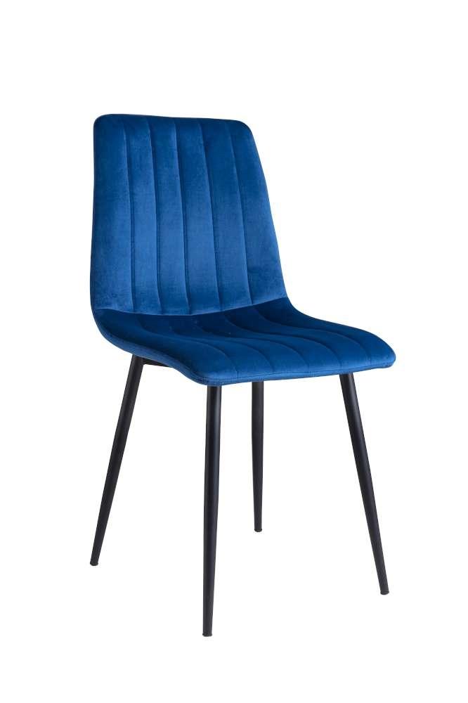 Scaun tapitat cu stofa, cu picioare metalice Tux Blue / Black, l45xA54xH88 cm