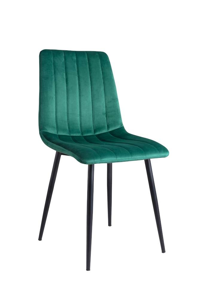 Scaun tapitat cu stofa, cu picioare metalice Tux Green / Black, l45xA54xH88 cm