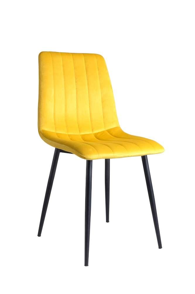Scaun tapitat cu stofa, cu picioare metalice Tux Yellow / Black, l45xA54xH88 cm