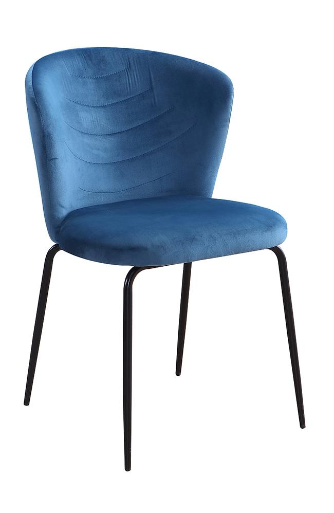 Scaun tapitat cu stofa, cu picioare metalice Viki Blue / Black, l51xA57xH80 cm