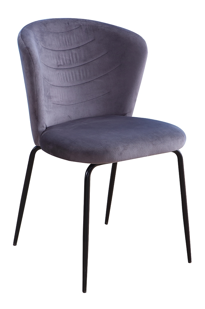 Scaun tapitat cu stofa, cu picioare metalice Viki Grey / Black, l51xA57xH80 cm