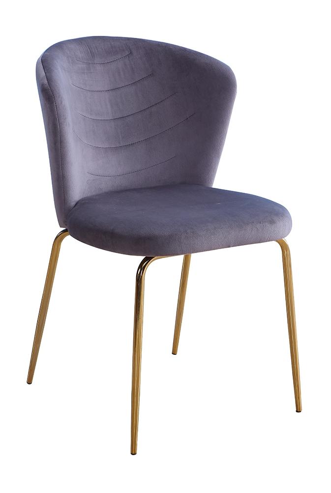 Scaun tapitat cu stofa, cu picioare metalice Viki Grey / Gold, l51xA57xH80 cm