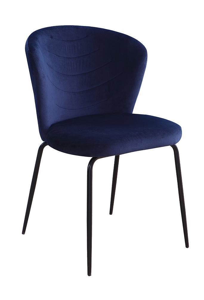 Scaun tapitat cu stofa, cu picioare metalice Viki Navy Blue / Black, l51xA57xH80 cm