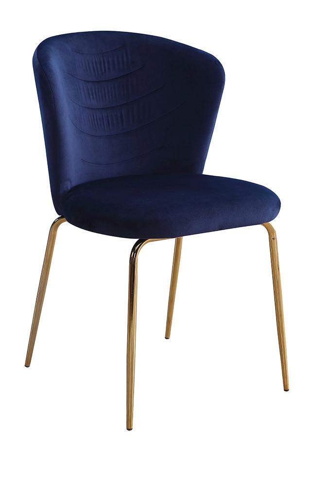 Scaun tapitat cu stofa, cu picioare metalice Viki Navy Blue / Gold, l51xA57xH80 cm