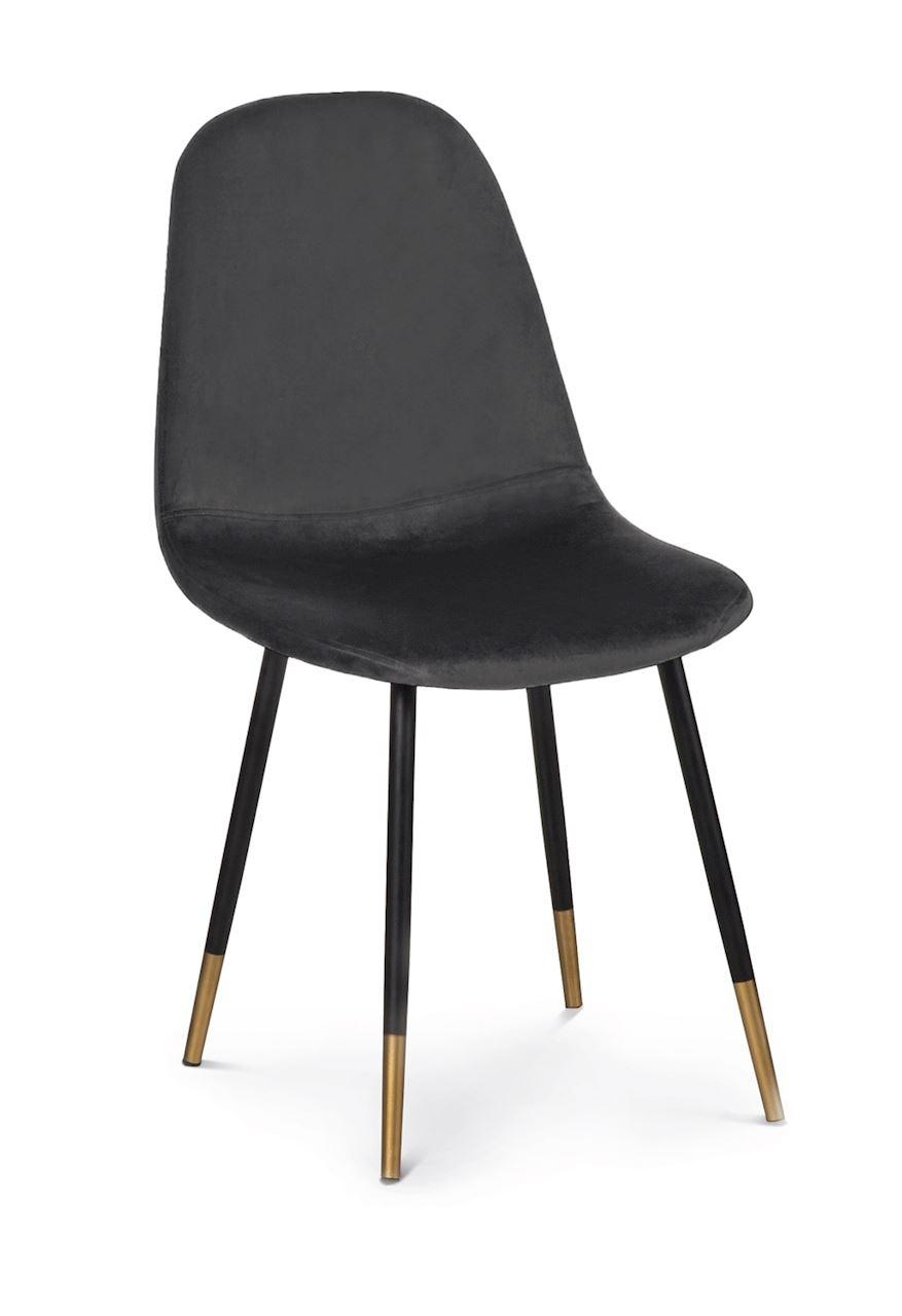 Scaun tapitat cu stofa, cu picioare metalice Viktor Graphite / Black / Gold, l44xA52xH87 cm