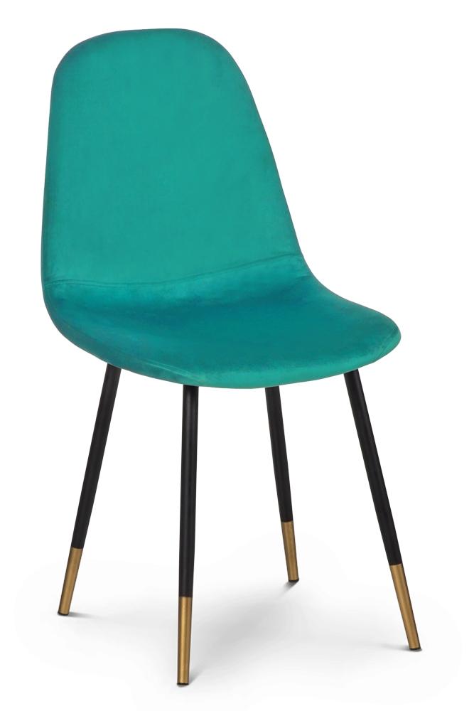 Scaun tapitat cu stofa, cu picioare metalice Viktor Comb Turquoise / Black / Gold, l44xA52xH87 cm