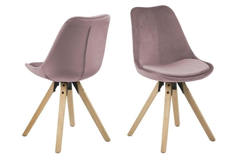 Set 2 Scaune tapitate cu stofa, cu picioare din lemn Dima Dusty Rose / Oak, l48,5xA55xH85 cm somproduct.ro
