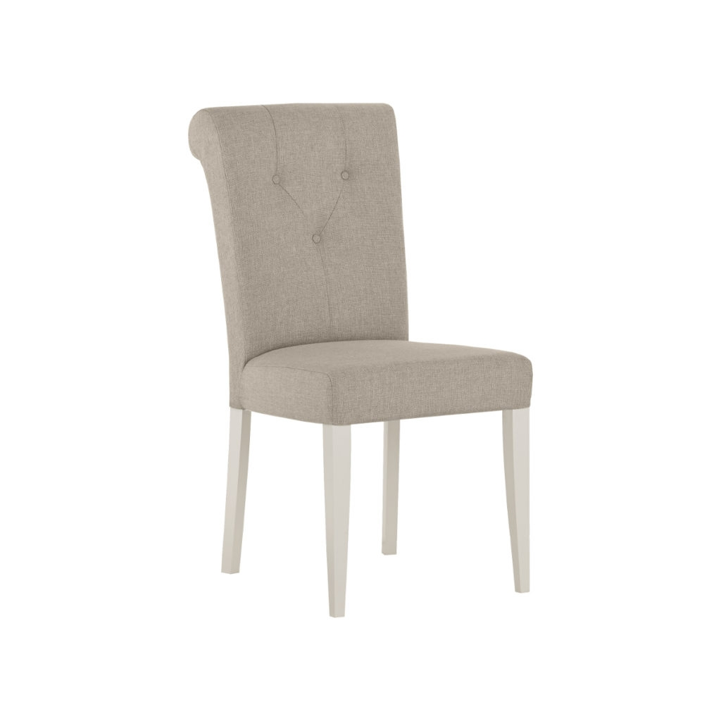 Scaun tapitat cu stofa, cu picioare din lemn Montreux MOS2271 Grey / White, l46xA62xH96 cm