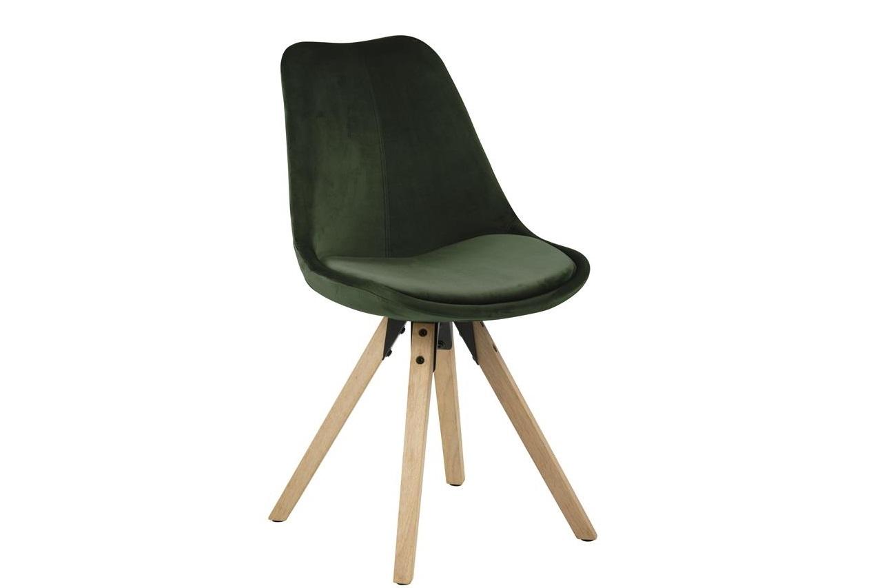 Scaun tapitat cu stofa si picioare de lemn Dima Velvet Verde / Stejar, l48,5xA55xH85 cm imagine