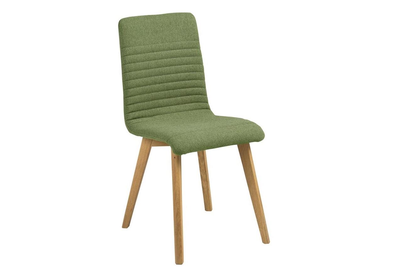 Scaun tapitat cu stofa si picioare din lemn Arosa Verde / Stejar, l42xA43xH90 cm