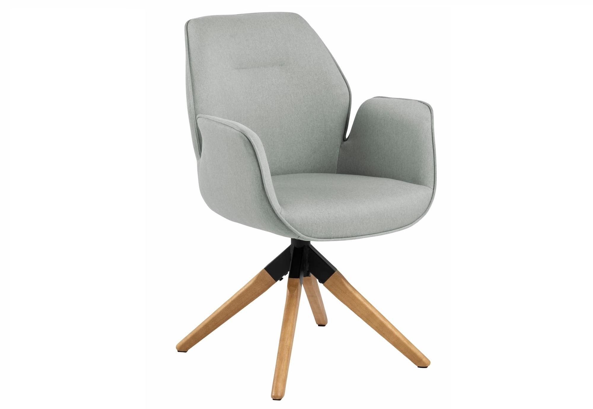 Scaun tapitat cu stofa si picioare din lemn Aura Gri deschis / Stejar, l60,5xA58,5xH91 cm