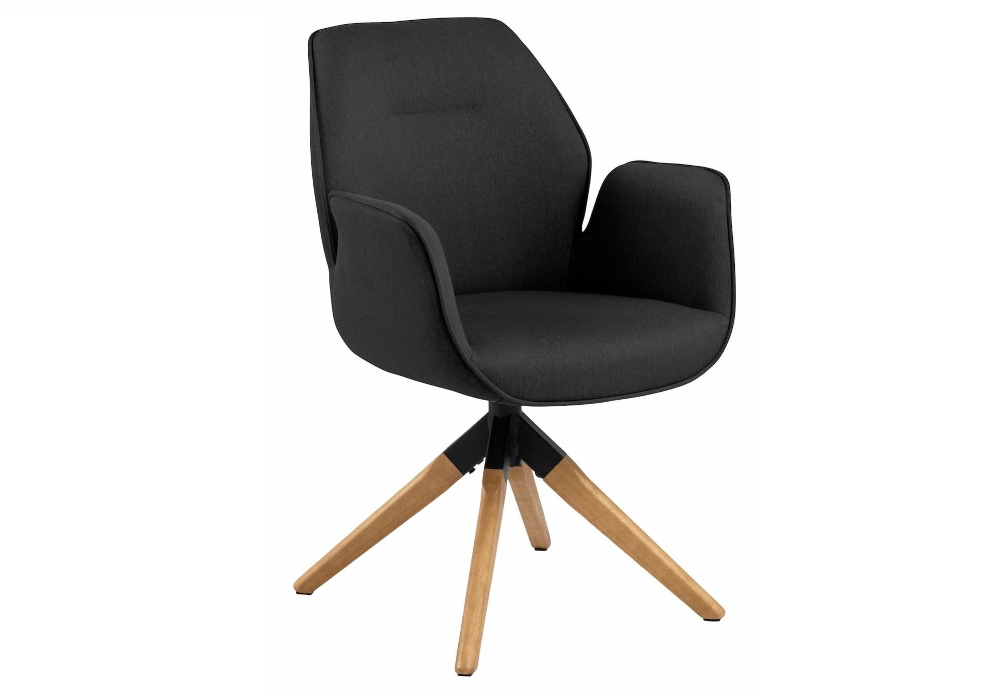 Scaun tapitat cu stofa si picioare din lemn Aura Gri inchis / Stejar, l60,5xA58,5xH91 cm
