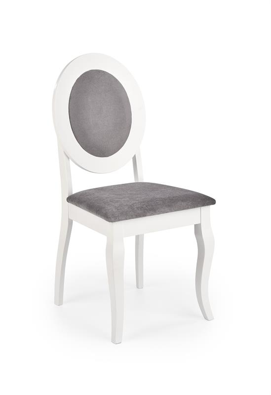Scaun tapitat cu stofa si picioare din lemn Barock Alb / Gri, l45xA51xH93 cm