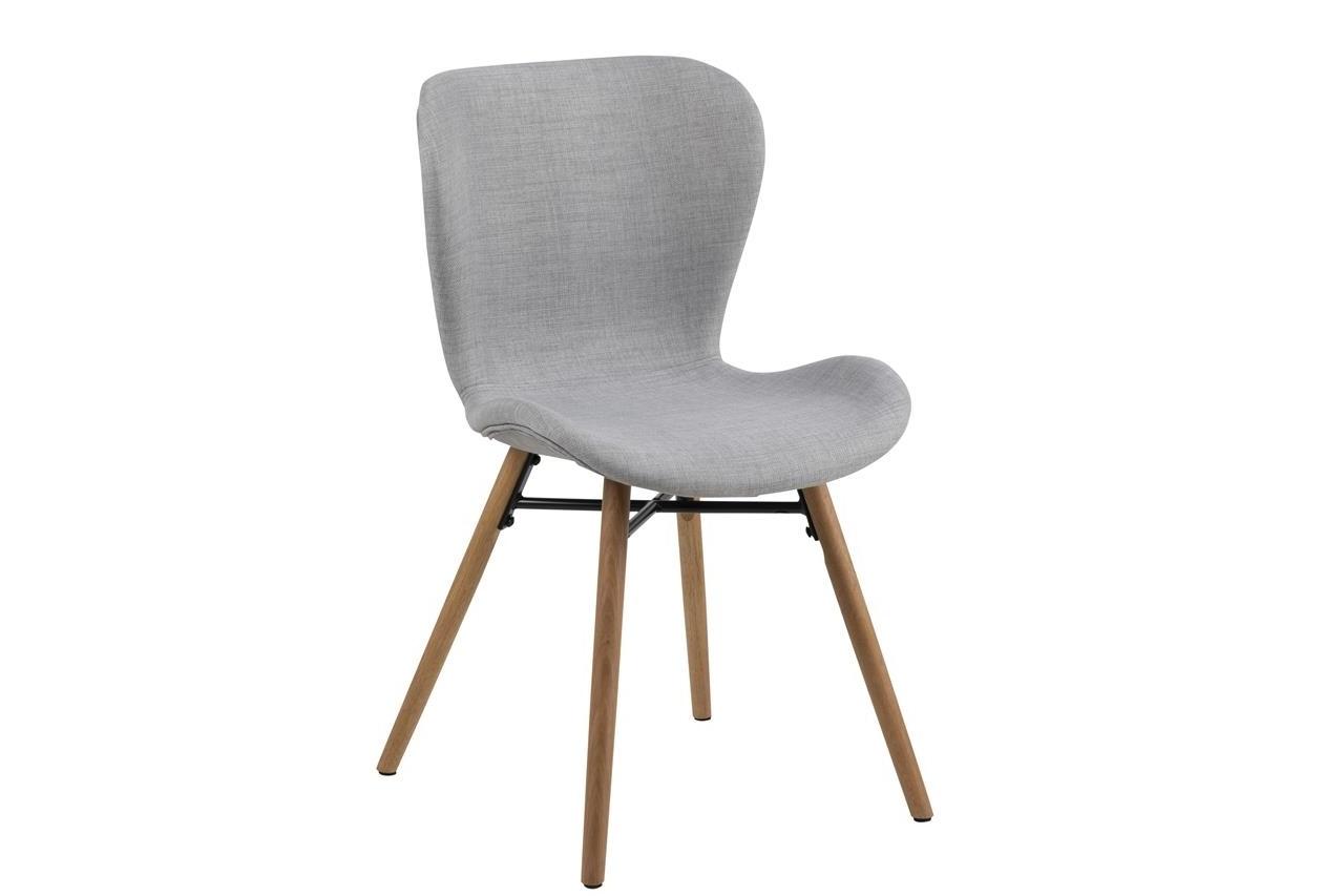 Scaun tapitat cu stofa si picioare din lemn Batilda-A1 Gri Deschis / Stejar, l47xA53xH82,5 cm