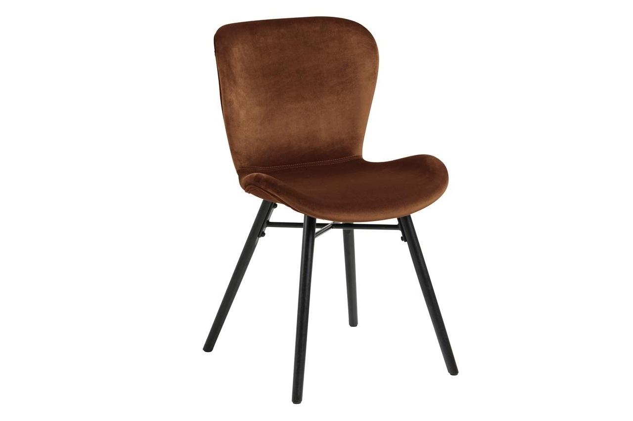 Scaun tapitat cu stofa si picioare din lemn Batilda A-1 Velvet Maro / Negru, l47xA53xH82,5 cm