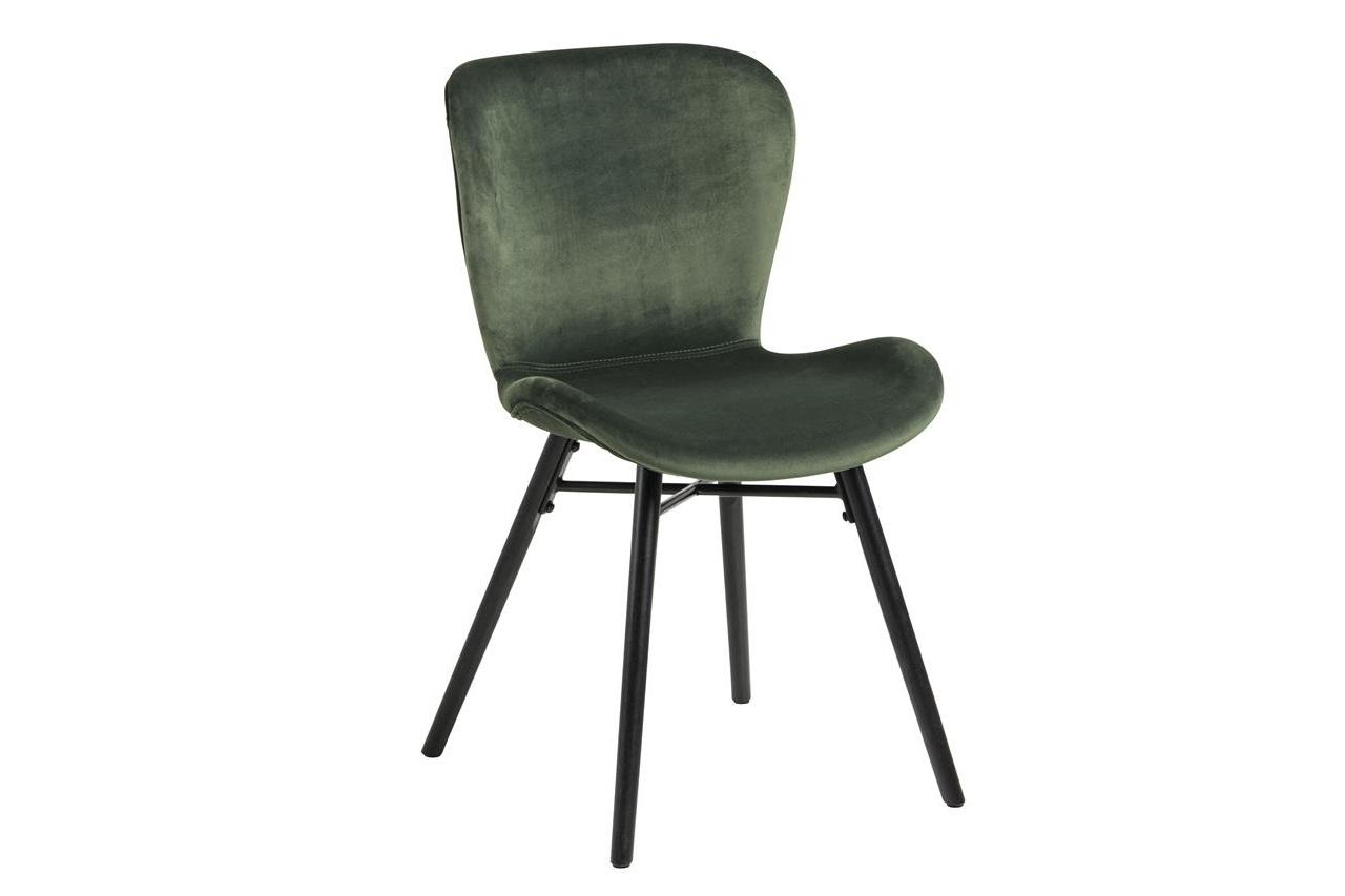 Scaun tapitat cu stofa si picioare din lemn Batilda A-1 Velvet Verde / Negru, l47xA53xH82,5 cm somproduct.ro