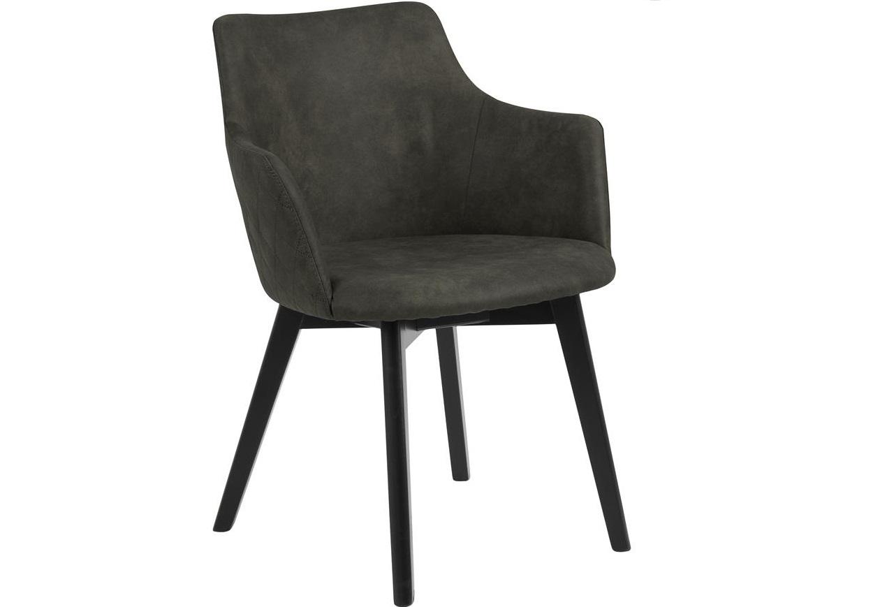 Scaun tapitat cu stofa si picioare din lemn Bella Verde Olive / Negru, l62xA59xH80 cm imagine