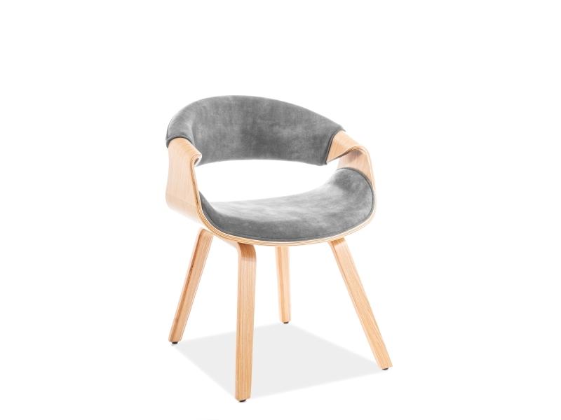 Scaun tapitat cu stofa si picioare din lemn Dakota Velvet Gri / Stejar, l62xA42xH79 cm