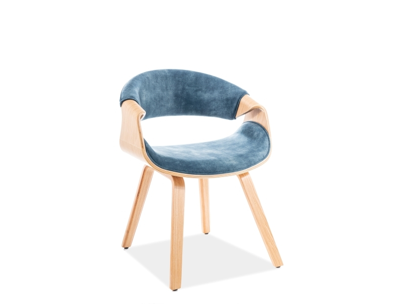 Scaun tapitat cu stofa si picioare din lemn Dakota Velvet Teal / Stejar, l62xA42xH79 cm