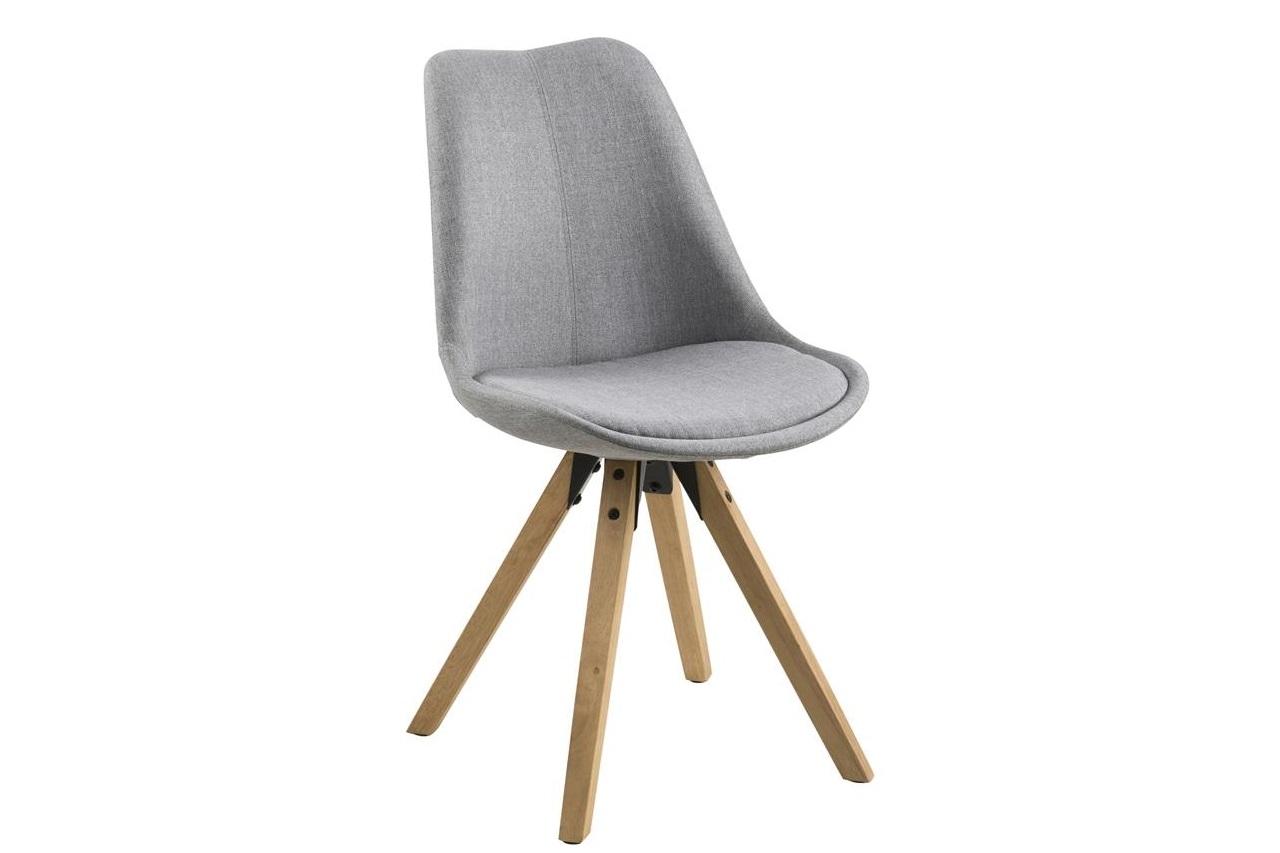 Scaun tapitat cu stofa si picioare din lemn Dima Gri Deschis / Stejar, l48,5xA55xH85 cm