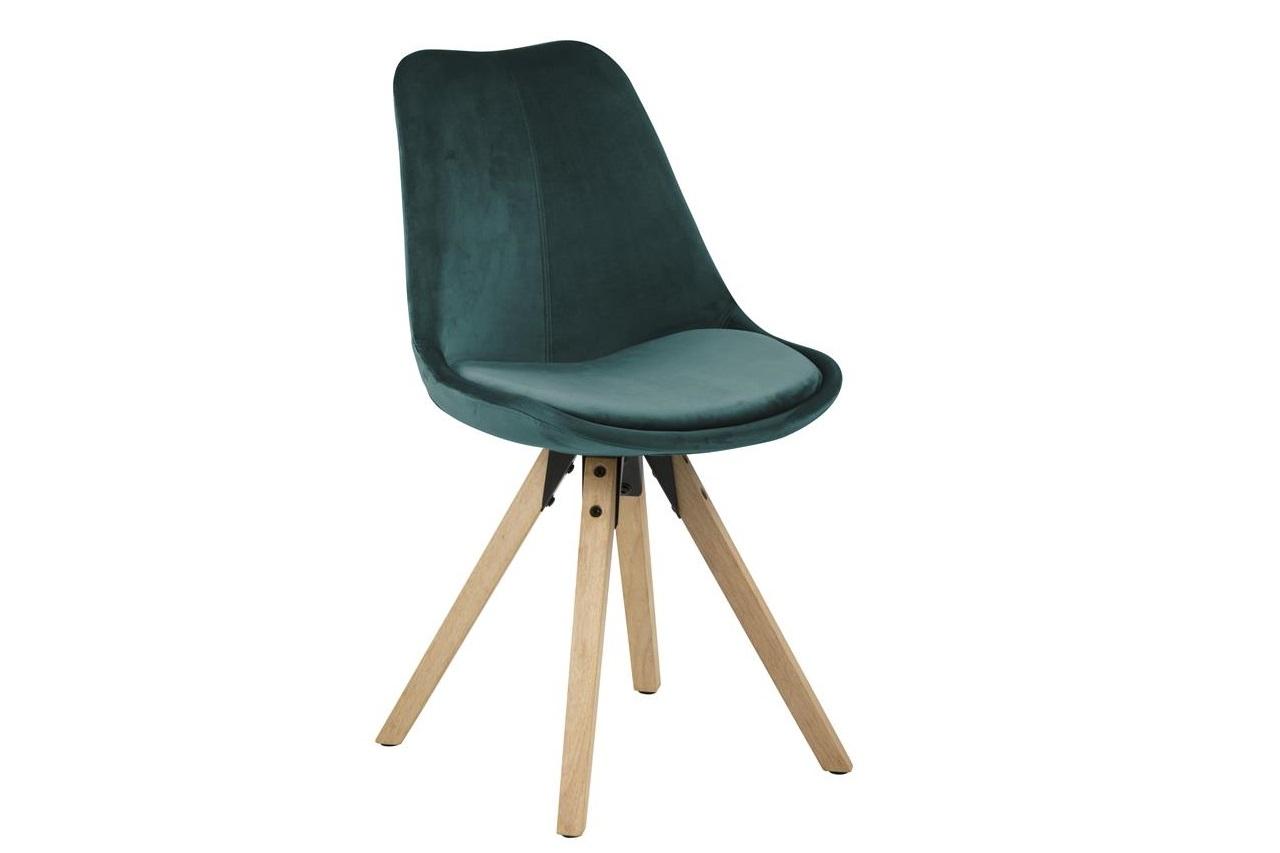 Scaun tapitat cu stofa si picioare din lemn Dima Velvet Verde Inchis / Stejar, l48,5xA55xH85 cm