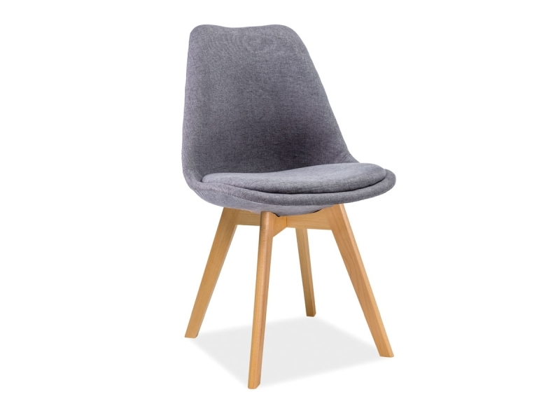 Scaun tapitat cu stofa si picioare din lemn Dior Gri inchis / Fag, l50xA40xH83 cm poza