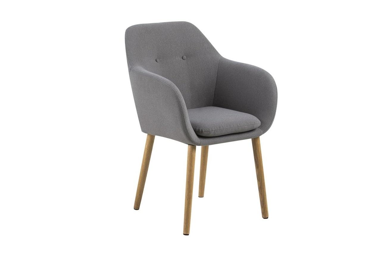 Scaun tapitat cu stofa si picioare din lemn Emilia Gri Deschis / Stejar, l57xA59xH83 cm